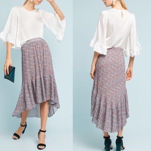 Anthropologie Floral high low pleaded Skirt